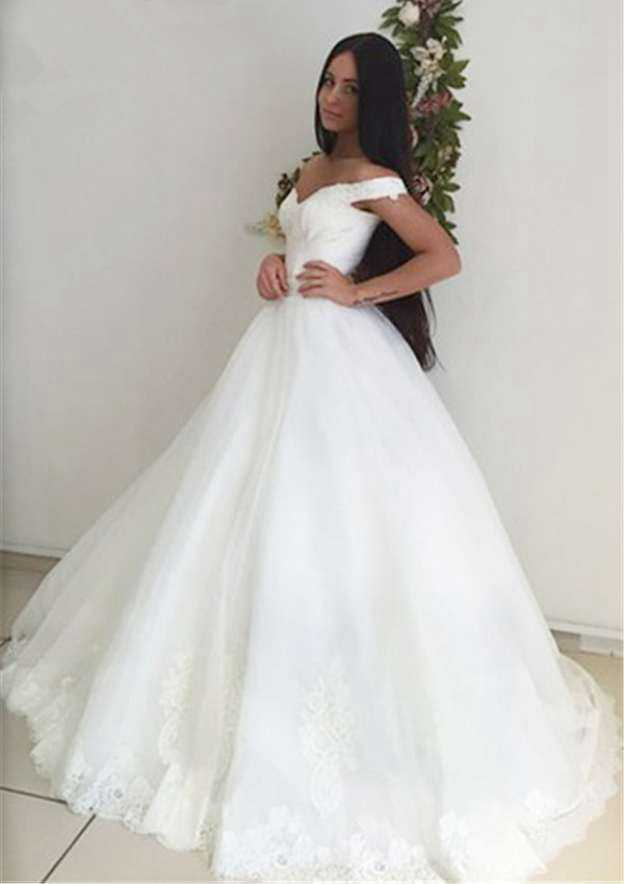 Ball Gown Off-The-Shoulder Sleeveless Sweep Train Tulle Wedding Dress With Appliqued Sashes