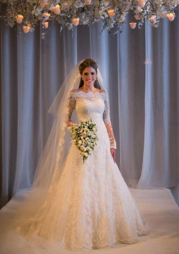Sheath/Column Off-The-Shoulder Full/Long Sleeve Sweep Train Lace Wedding Dress With Appliqued Sequins