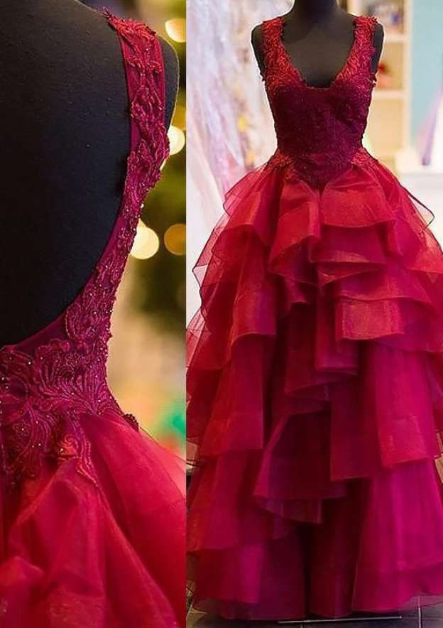 Ball Gown Square Neckline Sleeveless Long/Floor-Length Organza Prom Dress With Ruffles Appliqued Beading