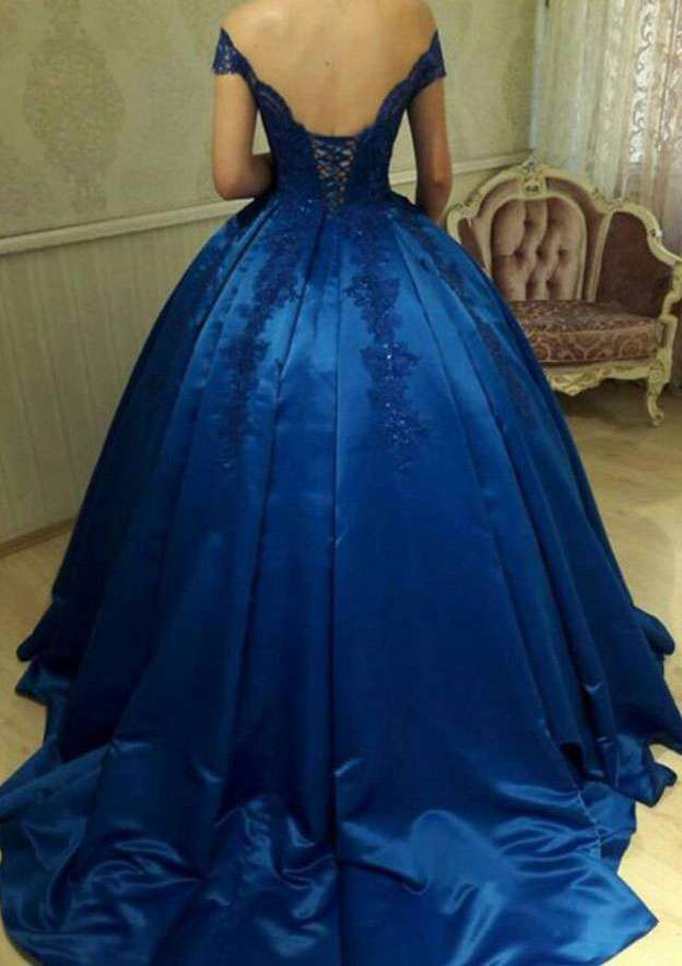 Ball Gown Off-The-Shoulder Sleeveless Court Train Charmeuse Prom Dress With Lace