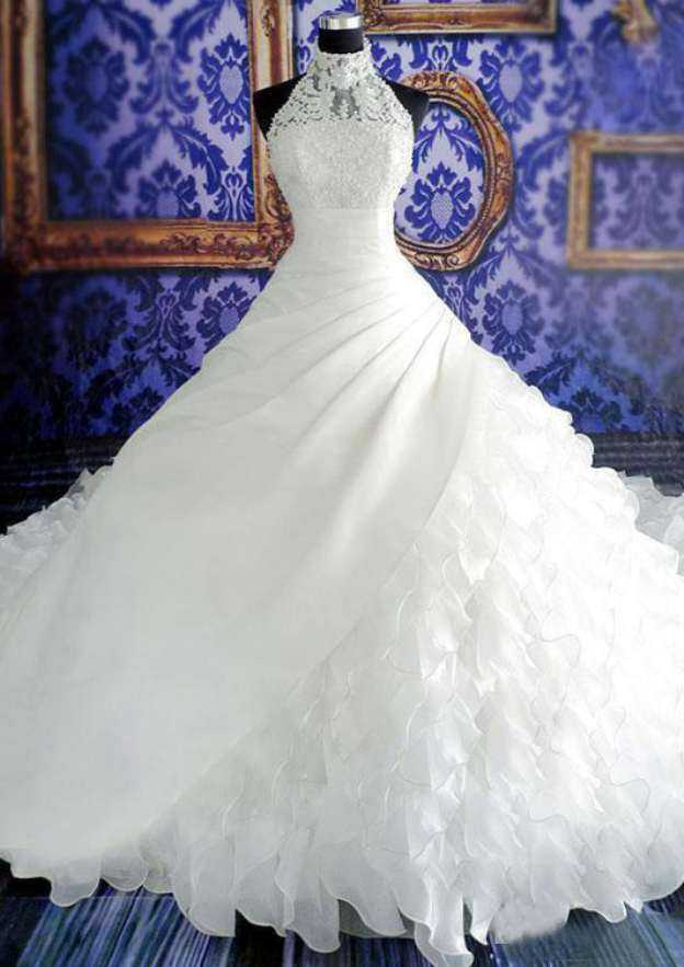 Ball Gown High-Neck Sleeveless Cathedral Train Organza Wedding Dress With Appliqued Beading Ruffles