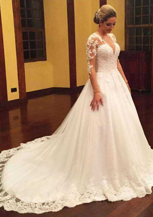 Ball Gown V Neck Full/Long Sleeve Court Train Tulle Wedding Dress With Appliqued Beading Lace