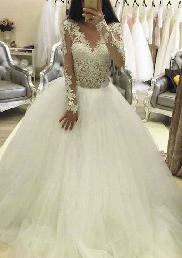 Ball Gown V Neck Full/Long Sleeve Court Train Tulle Wedding Dress With Appliqued Beading