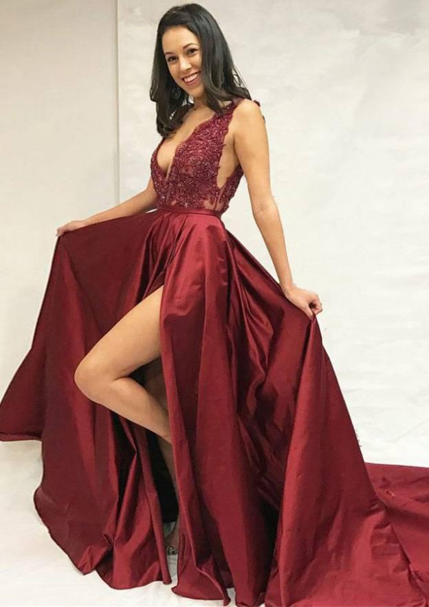 A-Line/Princess V Neck Sleeveless Chapel Train Charmeuse Prom Dress With Split Lace