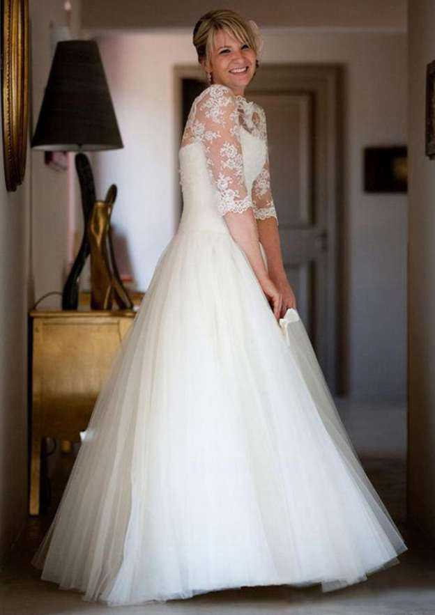Ball Gown Scalloped Neck Half Sleeve Long/Floor-Length Tulle Wedding Dress With Appliqued Lace