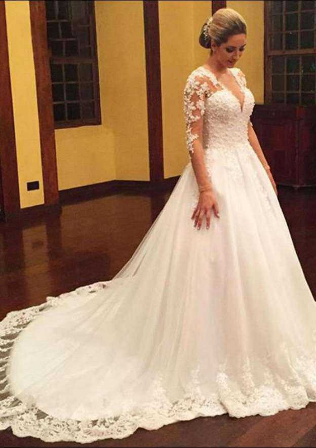 Ball Gown V Neck Full/Long Sleeve Chapel Train Tulle Wedding Dress With Appliqued Lace Hem