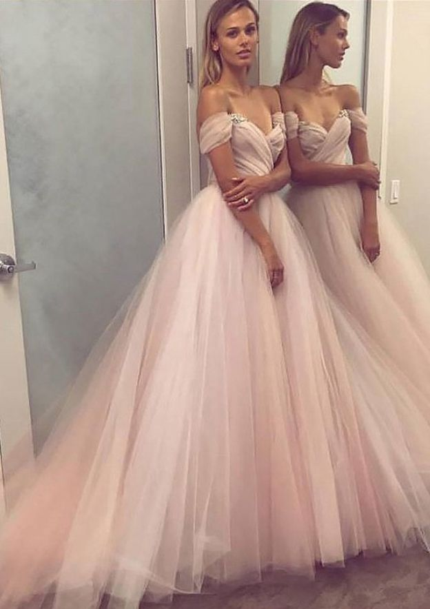 Ball Gown Off-The-Shoulder Sleeveless Sweep Train Tulle Prom Dress With Beading