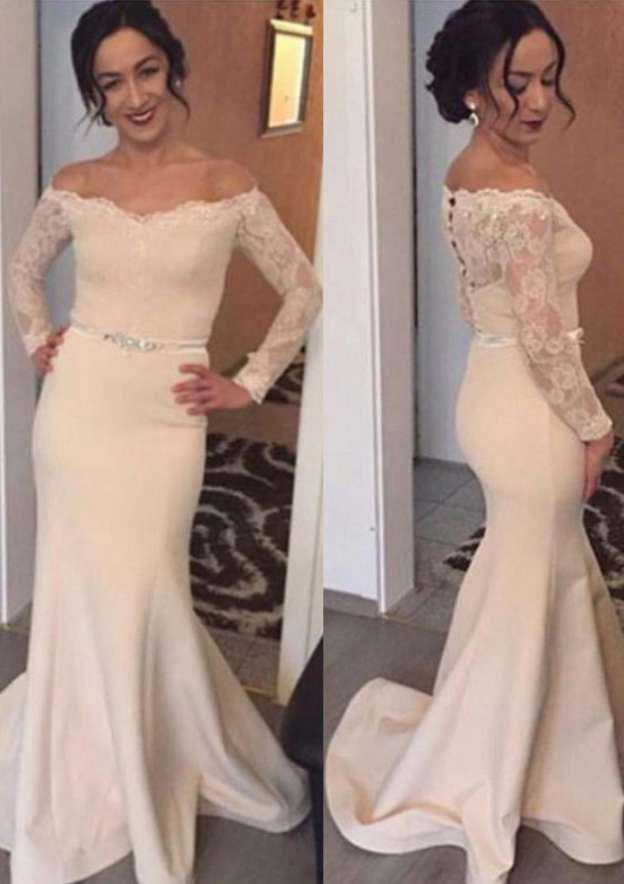 Trumpet/Mermaid Off-The-Shoulder Full/Long Sleeve Sweep Train Elastic Satin Wedding Dress With Appliqued Lace Waistband