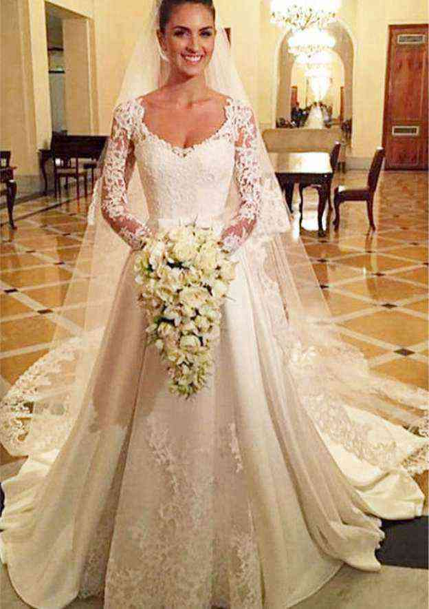 A-Line/Princess Scoop Neck Full/Long Sleeve Chapel Train Satin Wedding Dress With Bowknot Lace Sashes