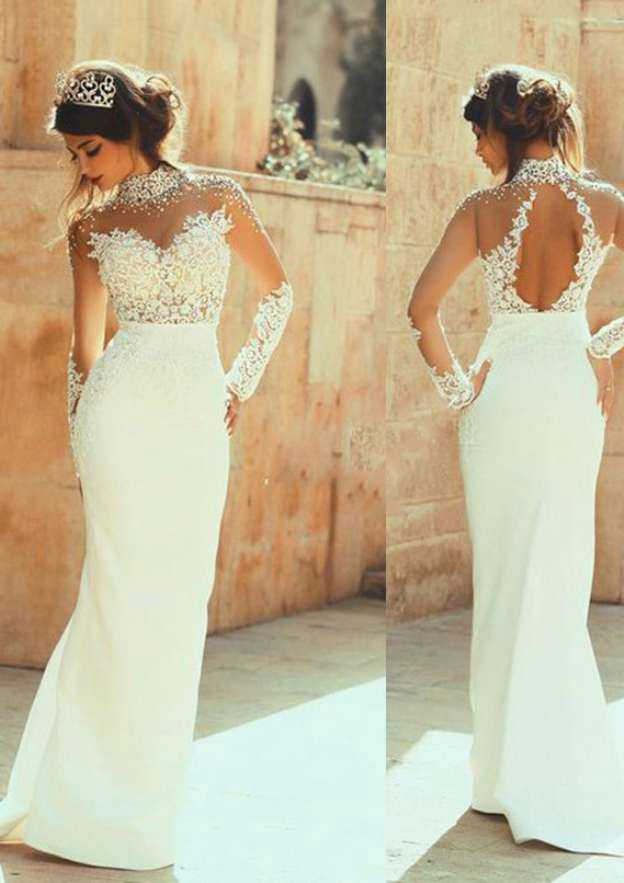 Sheath/Column High-Neck Full/Long Sleeve Sweep Train Charmeuse Wedding Dress With Lace Rhinestone