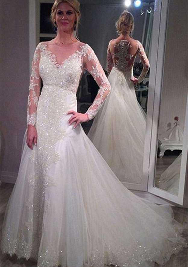 Sheath/Column Bateau Full/Long Sleeve Chapel Train Tulle Wedding Dress With Appliqued Beading