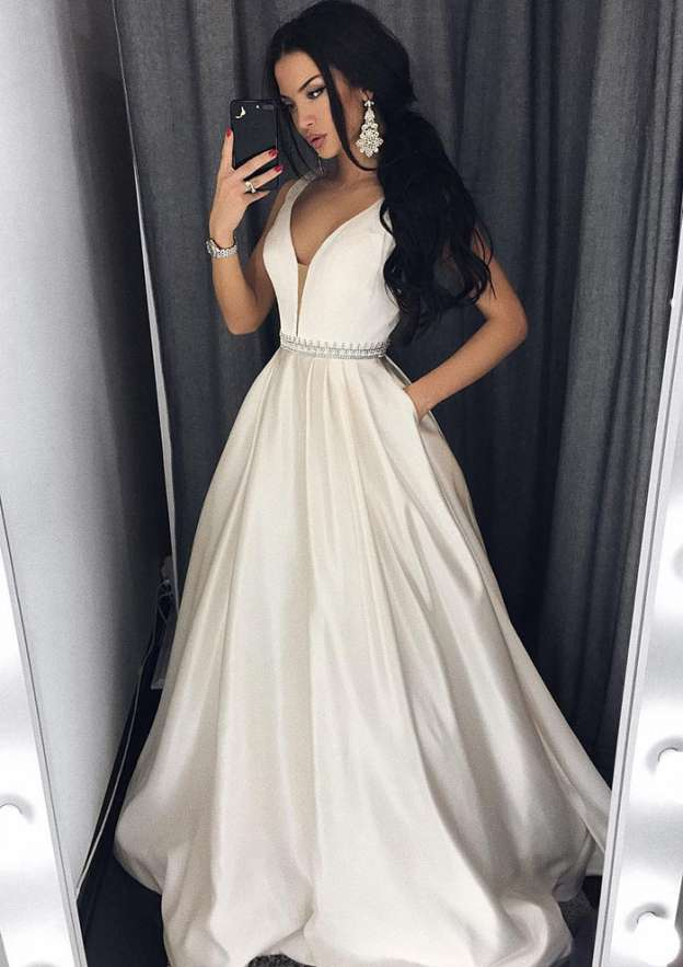 Ball Gown V Neck Sleeveless Sweep Train Satin Prom Dress With Beading