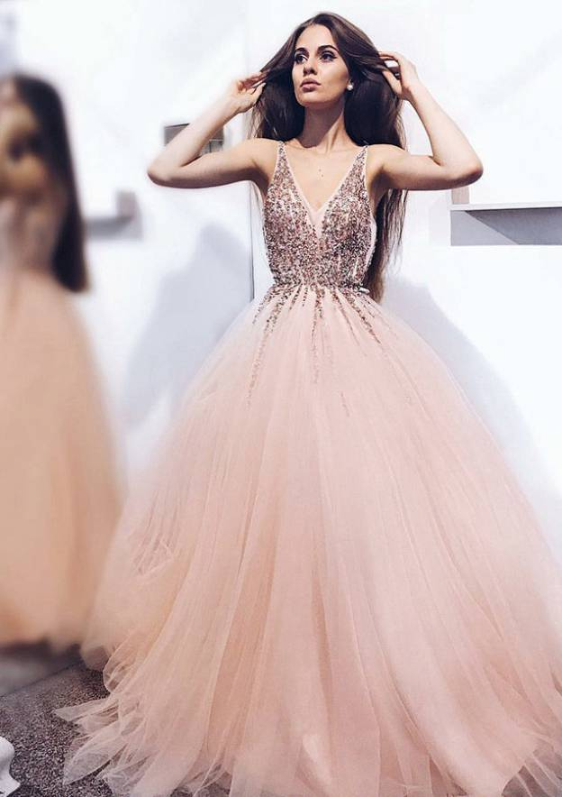 Ball Gown V Neck Sleeveless Sweep Train Tulle Prom Dress With Beading