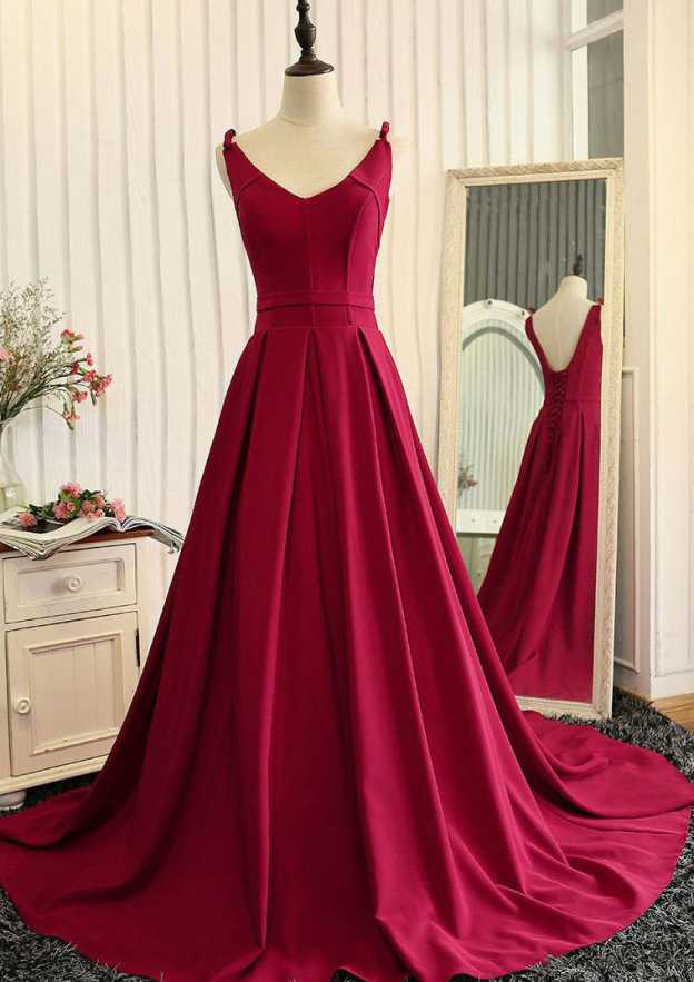 A-Line/Princess V Neck Sleeveless Court Train Charmeuse Prom Dress With Pleated