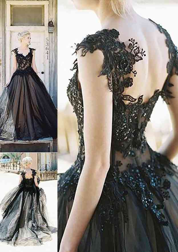 Ball Gown V Neck Sleeveless Court Train Tulle Prom Dress With Beading Lace
