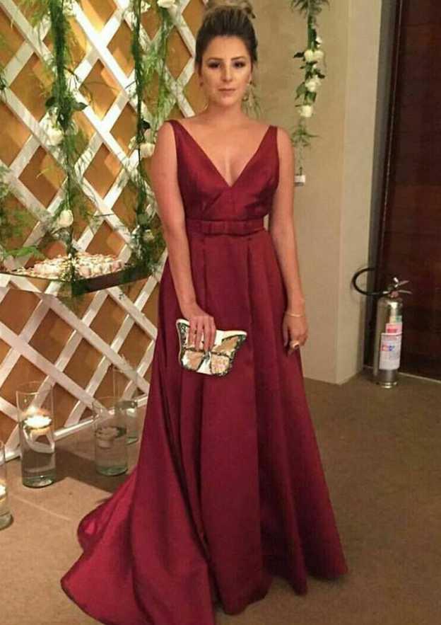 A-Line/Princess V Neck Sleeveless Sweep Train Charmeuse Prom Dress With Bowknot