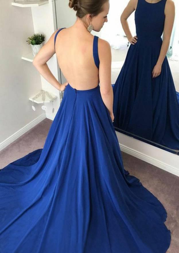 A-Line/Princess Scoop Neck Sleeveless Chapel Train Chiffon Prom Dress With Pleated