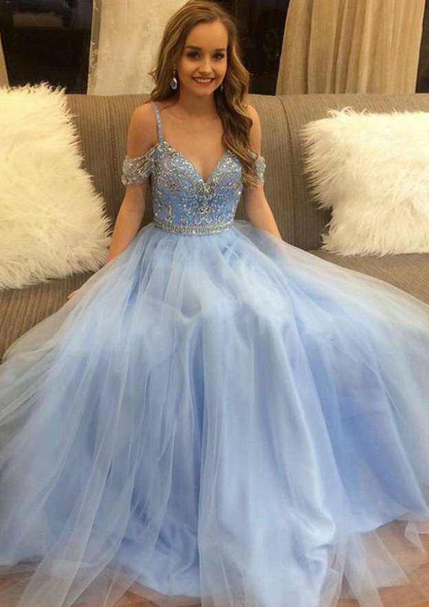 A-Line/Princess Sweetheart Sleeveless Long/Floor-Length Tulle Prom Dress With Beading