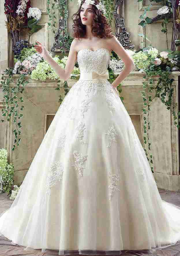 Ball Gown Sweetheart Sleeveless Chapel Train Tulle Wedding Dress With Appliqued Bowknot Waistband