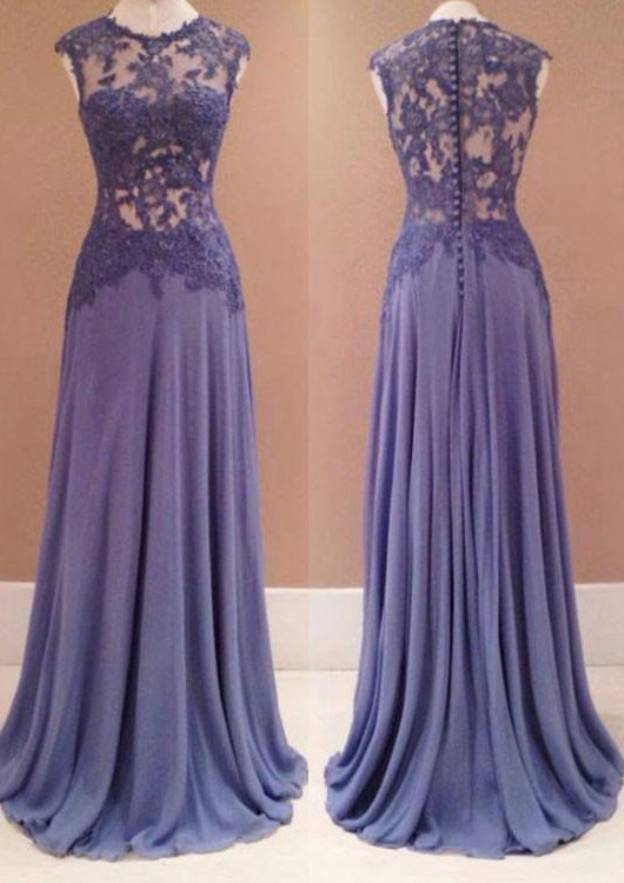 A-Line/Princess Scoop Neck Sleeveless Sweep Train Chiffon Prom Dress With Lace