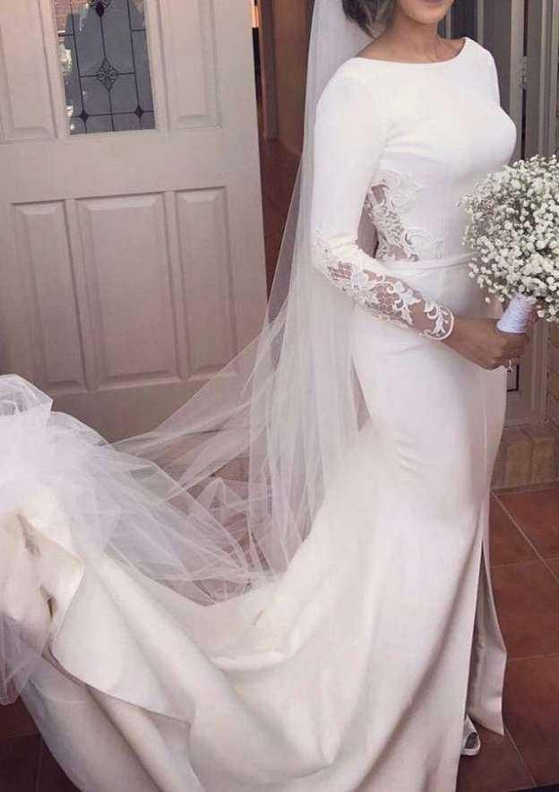 Trumpet/Mermaid Bateau Full/Long Sleeve Court Train Elastic Satin Wedding Dress With Lace