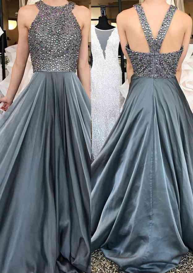 A-Line/Princess Scoop Neck Sleeveless Sweep Train Chiffon Prom Dress With Beading