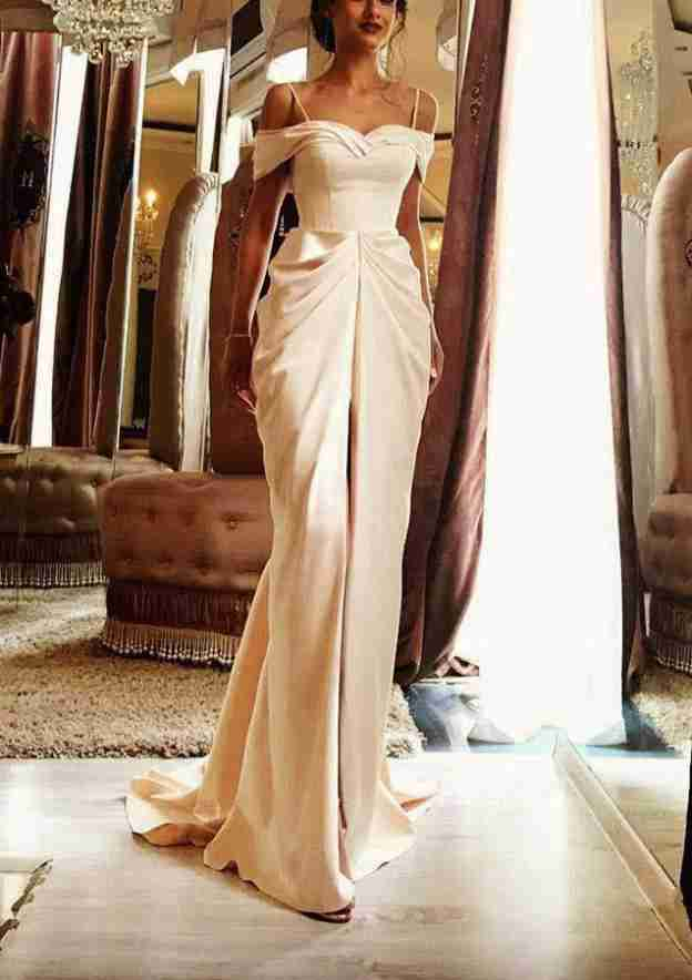 Sheath/Column Sweetheart Sleeveless Sweep Train Charmeuse Wedding Dress With Pleated Split