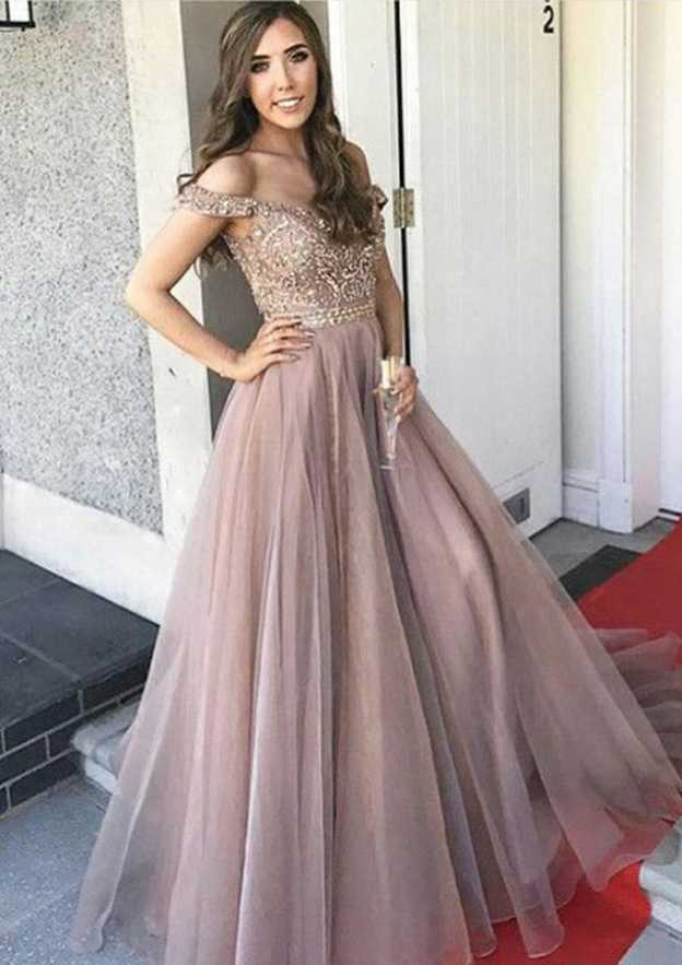 5856ec440dc A-line Princess Off-the-Shoulder Sleeveless Long Floor-Length Organza Prom  Dress With Beading
