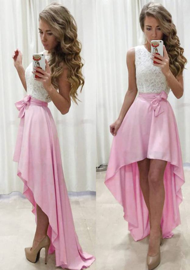 A-Line/Princess Scoop Neck Sleeveless Asymmetrical Charmeuse Prom Dress With Lace Sashes