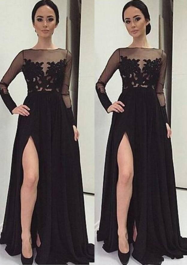 A-Line/Princess Bateau Full/Long Sleeve Sweep Train Chiffon Prom Dress With Appliqued Split