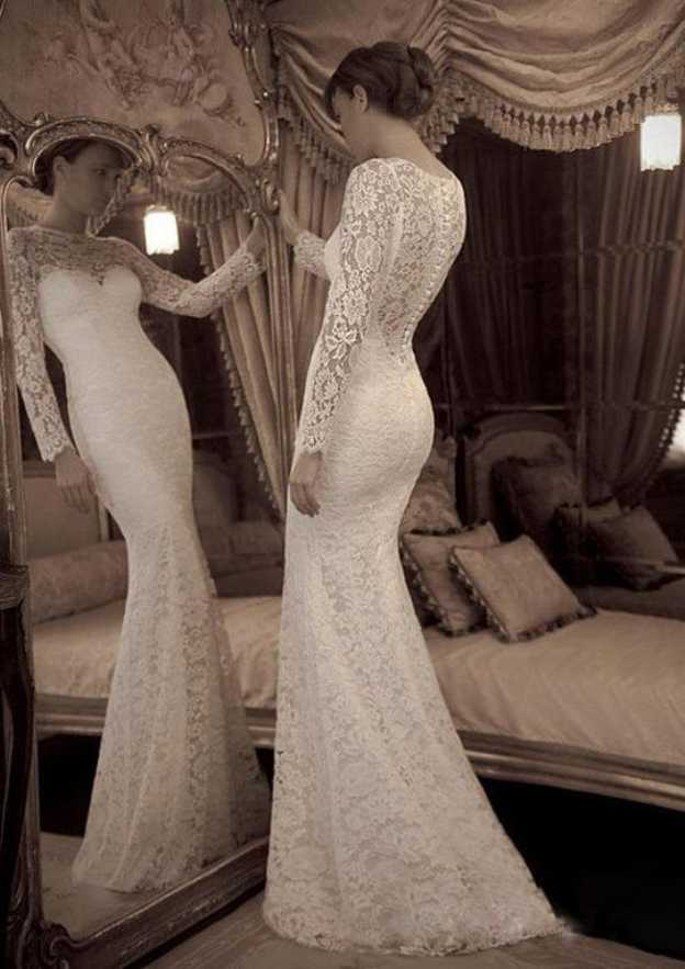 Trumpet/Mermaid Bateau Full/Long Sleeve Sweep Train Lace Wedding Dress