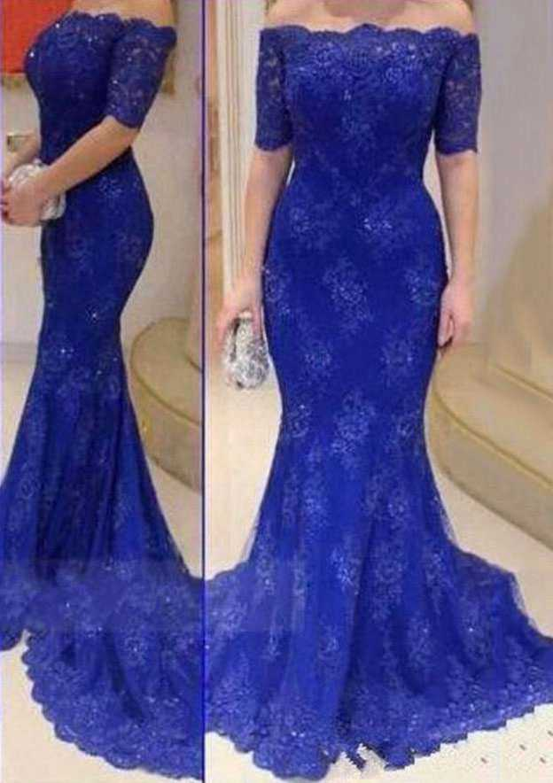 Trumpet/Mermaid Off-The-Shoulder Short Sleeve Court Train Lace Prom Dress With Appliqued