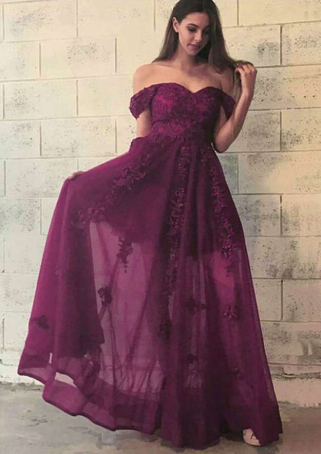 A-Line/Princess Off-The-Shoulder Sleeveless Long/Floor-Length Chiffon Prom Dress With Appliqued