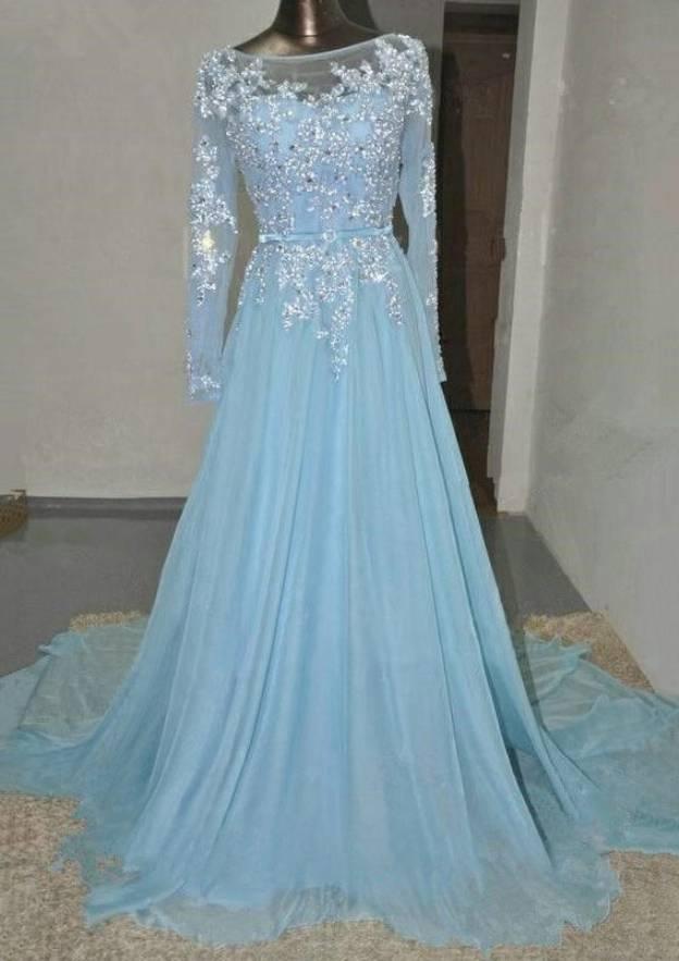 A-Line/Princess Bateau Full/Long Sleeve Court Train Chiffon Prom Dress With Lace Beading
