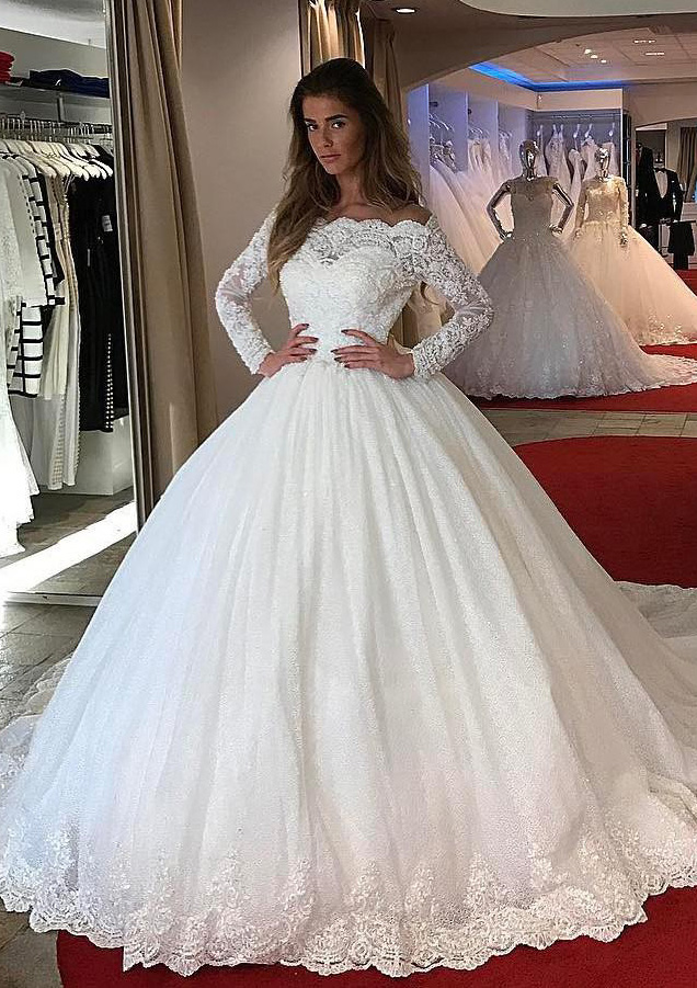 Ball Gown Off The Shoulder Full Long Sleeve Chapel Train Lace Wedding Dress With Appliqued Beading M10108795btbw Feeltimes