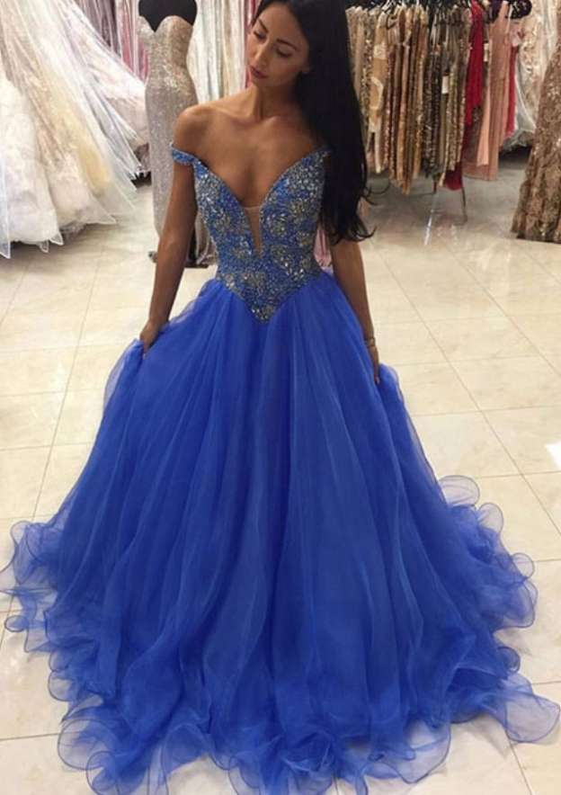 Ball Gown Off-The-Shoulder Sleeveless Sweep Train Organza Prom Dress With Beading
