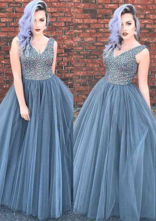 Ball Gown V Neck Sleeveless Long/Floor-Length Tulle Prom Dress With Beading