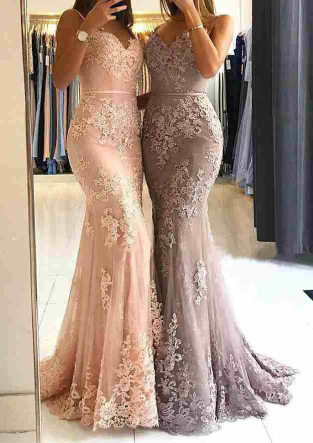 Trumpet/Mermaid Sweetheart Sleeveless Long/Floor-Length Tulle Prom Dress With Appliqued