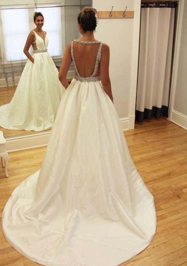 Ball Gown V Neck Sleeveless Chapel Train Taffeta Wedding Dress With Beading