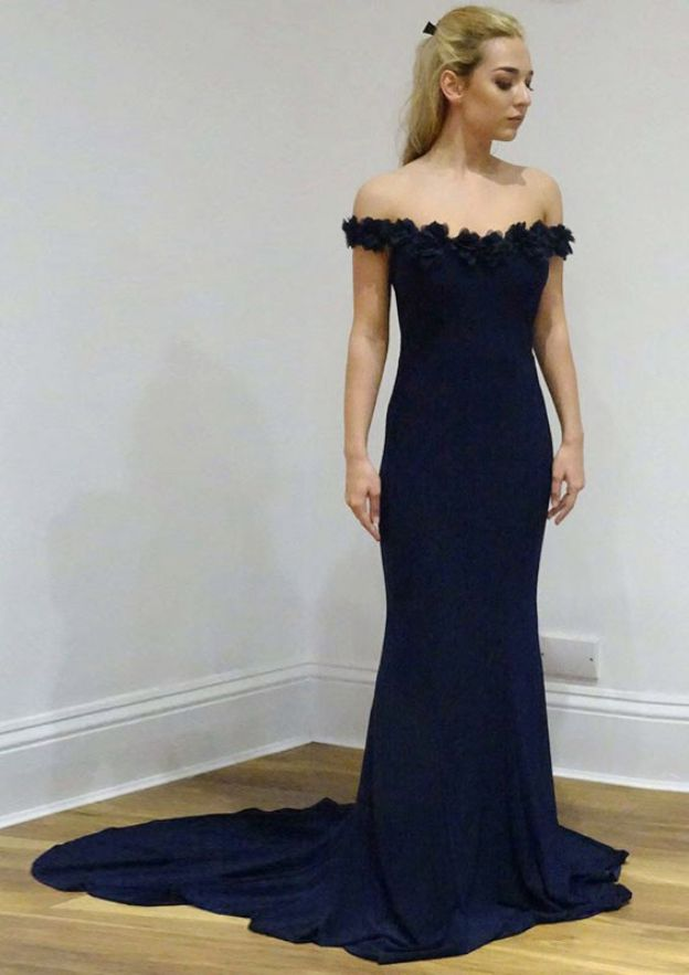 Sheath/Column Off-The-Shoulder Sleeveless Court Train Jersey Prom Dress With Flowers