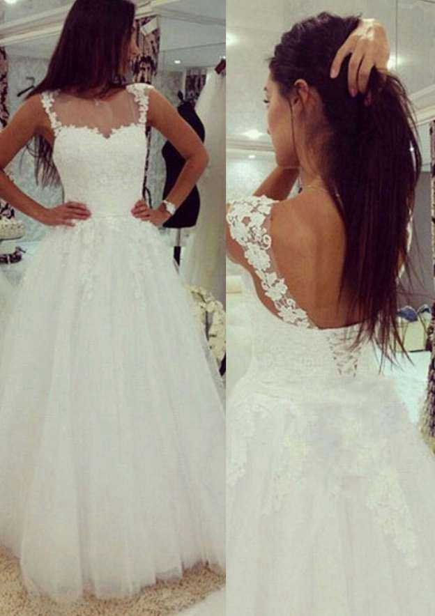 Ball Gown Bateau Sleeveless Long/Floor-Length Tulle Wedding Dress With Appliqued