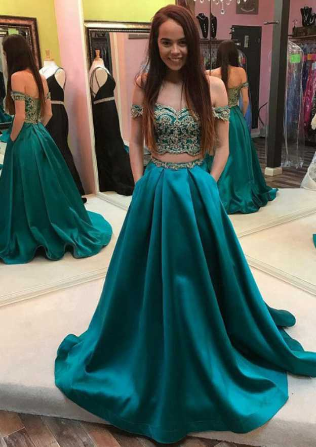 Ball Gown Off-The-Shoulder Short Sleeve Sweep Train Satin Prom Dress With Appliqued