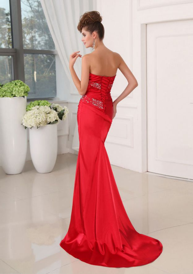 Trumpet/Mermaid Strapless Sleeveless Sweep Train Charmeuse Prom Dress With Rhinestone Pleated