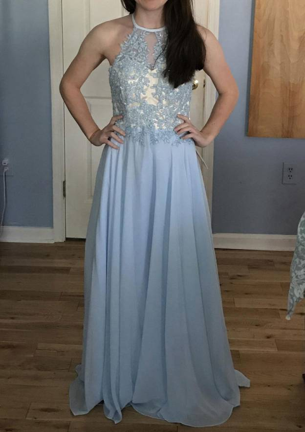 A-Line/Princess Halter Sleeveless Sweep Train Chiffon Prom Dress With Appliqued Sequins