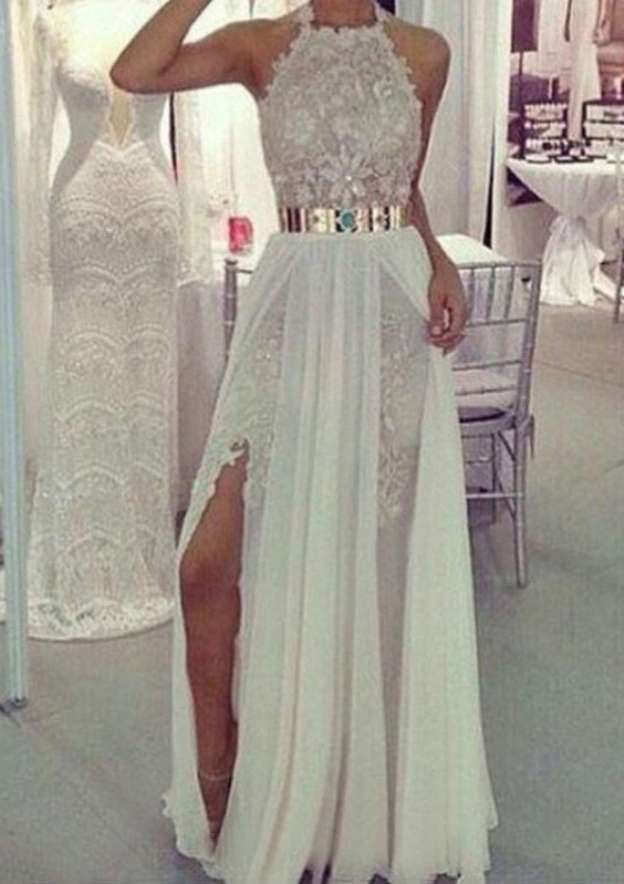 A-Line/Princess Halter Sleeveless Long/Floor-Length Chiffon Prom Dress With Split Lace Waistband