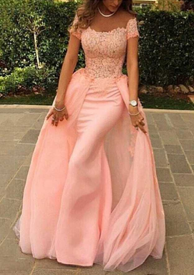 Sheath/Column Off-The-Shoulder Short Sleeve Sweep Train Tulle Prom Dress With Lace