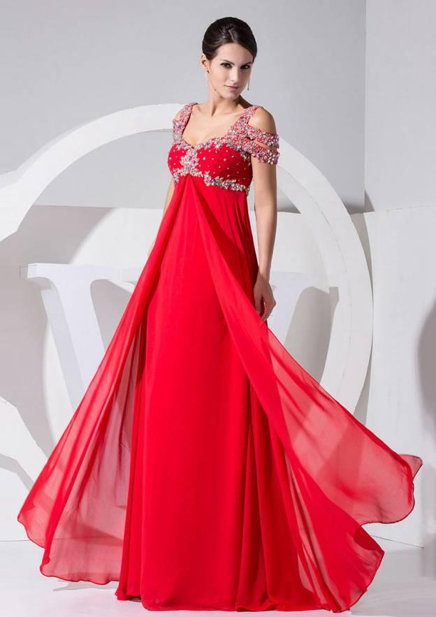 A-Line/Princess Sweetheart Sleeveless Long/Floor-Length Chiffon Prom Dress With Rhinestone Beading