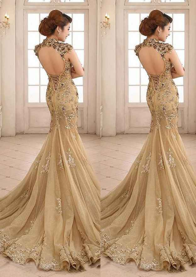 Trumpet/Mermaid High-Neck Sleeveless Court Train Tulle Prom Dress With Rhinestone Crystal Sequins