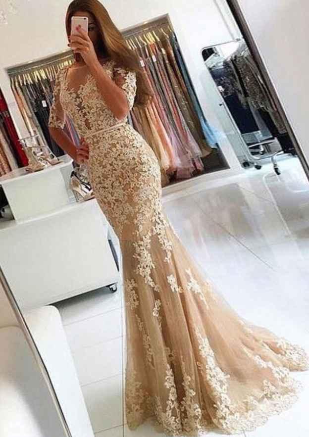 Trumpet/Mermaid Bateau Half Sleeve Sweep Train Tulle Prom Dress With Waistband Appliqued