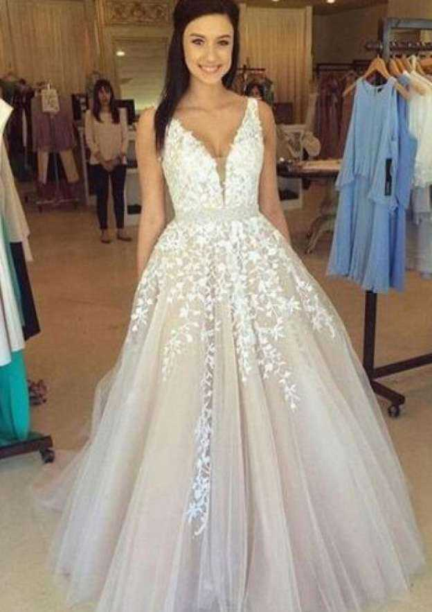 A-Line/Princess V Neck Sleeveless Long/Floor-Length Tulle Prom Dress With Appliqued Waistband